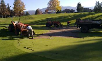 Preparing Gallaghers Canyon greens for re-sodding