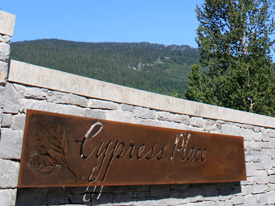 The copper sign at Cypress Place Whistler